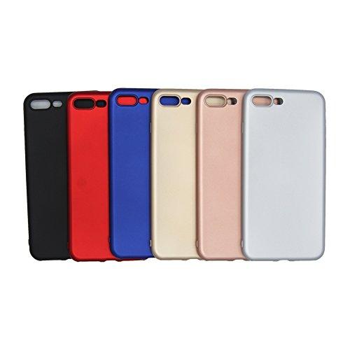 Pridot Metallico Vernice Morbido Custodia per iPhone 7 TPU Case Matte Rivestimento Liscio Flessibile Protettivo Cover Leggera Silicone Bumper - Blu Doro