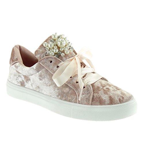 Sneakers casual kaki con stringhe per donna wMf5t
