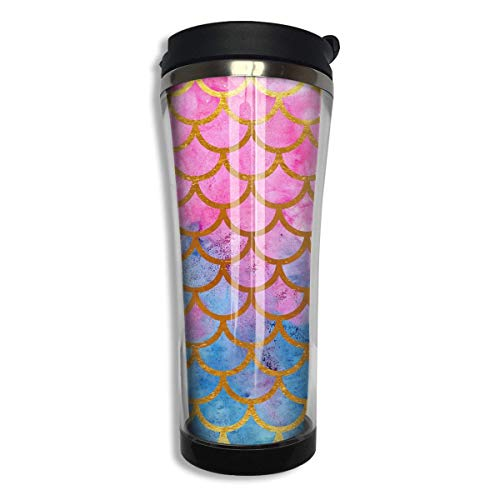 Stainless Steel 420 ML Mermaid Watercolor Gold Pink Fish Scales Coffee Mug Double Wall Vacuum Insulated Tumbler Water Coffee Cup Travel Home Office School Works Great Hot Cold Drink -