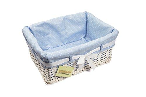 woodluv Wäschekorb, Weidengeflecht, rechteckig, mit Futter + Schleife, mittelgroß, Weiß/Blau