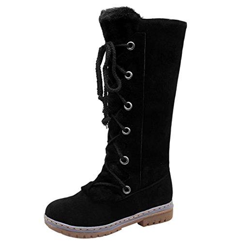 AIYOUMEI Damen Winter Flach Halbschaft Stiefel mit Schnürsenkel und Warm Fell Gefüttert Bequem Stiefel Schuhe (Stretch-mid Calf Boot)