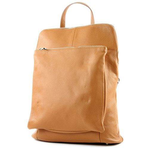 modamoda de de - señoras italianas mochila bolsa de cuero T141 3en1, Color:Camel