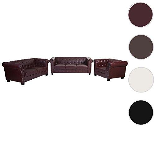 Luxus 3-2-1 Sofagarnitur Couchgarnitur Loungesofa Chesterfield Kunstleder ~ eckige Füße, rot-braun