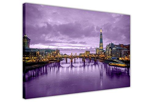 Beautiful Purple Night Sky Londra Paesaggio Stampa su tela Wall Art Immagini incorniciate, puntine Tela Legno, Pink/Purple, 06- A0 - 40