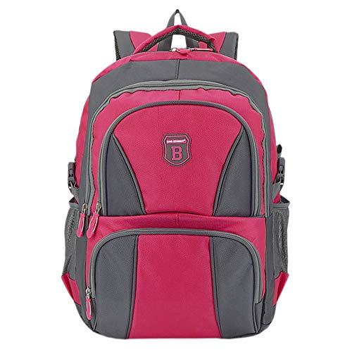 Ergonomisches Daypack City Damen Herren Rucksack Schulrucksack Backpack Tasche für Reise Sport Freizeit (B1 Pink-Grau)