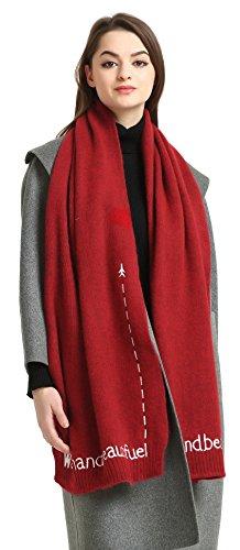 Pizoff Herren/Damen Luxus Winter 100% Schurwolle Schal mit stickerei 40 x 200cm AK003-Red (Snake-print Schal)