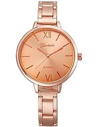 Vovotrade Lujo Señora Mujeres Pequeño Acero Band Strape Reloj Analógico De Cuarzo De Cuarzo (oro rosa)