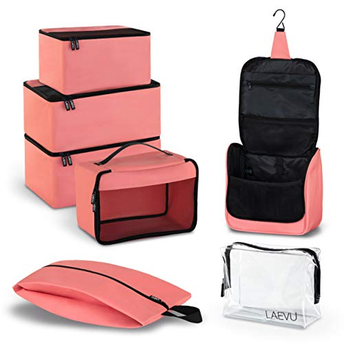 LAEVU Kleidertaschen - 5 Packing Cubes Plus 2 Kosmetik Beutel - 7-Teiliges Travel-Set - Pink