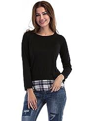 Gaoxu Europa y los Estados Unidos Women 's Wear Plaid camisa camisa de manga larga camisa de costura,Black,XL