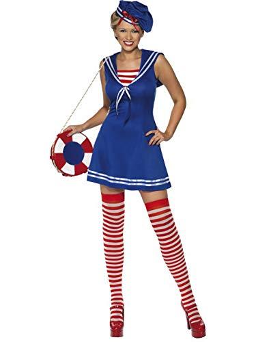Fancy Ole - Damen Frauen Frauen Matrosin Marine Seemann Kostüm mit Kleid, Barett und Strümpfe, perfekt für Karneval, Fasching und Fastnacht, M, Blau