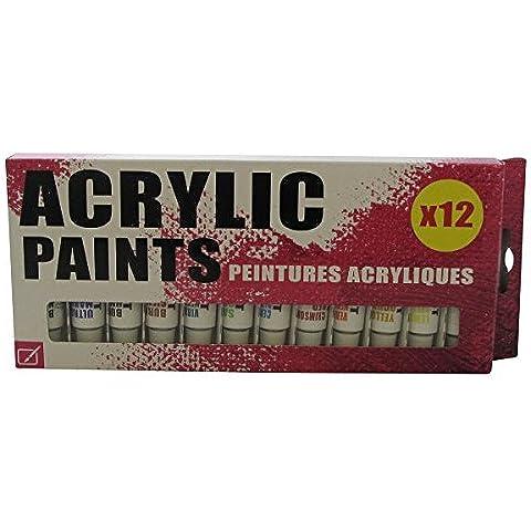 SiL 12pz Colori Acrilici 12ml Colori Assortiti - Scatola Di Cartone Crafts