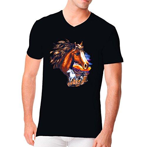 Fun Männer V-Neck Shirt - Pferde bei Sonnenuntergang by Im-Shirt Schwarz
