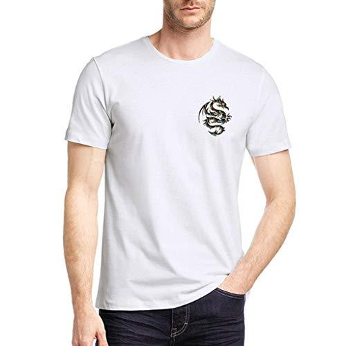 Yvelands HerrenT-Shirt Toronto Raptors Reine Farben-Drache druckte Muster-beiläufiges Art- und Weiserevers kurzes Hülsen-Hemd(Weiß2,XXL) -
