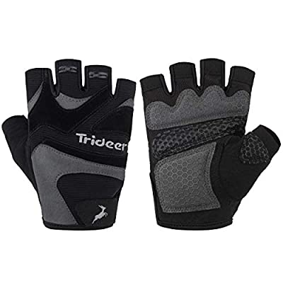 Trideer Weight Lifting Gloves with Padded & Anti-slip 3-Piece Silica Gel Grip & Adjustable Fasteners, Gym Gloves for Yoga, Workout, Sports,Fitness, Cross Training (Men & Women) from Trideer