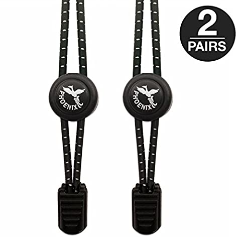 Phoenix Fit UK - No tie Elastic Lace System with lock - Easy to install in a range of colours. Great for runners, children, older generation & active lifestyles - 2 Pairs (Midnight Black)