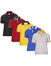 Baremoda Men's Polo T Shirt Grey Black Maroon Yellow And Blue Combo Pack Of 5