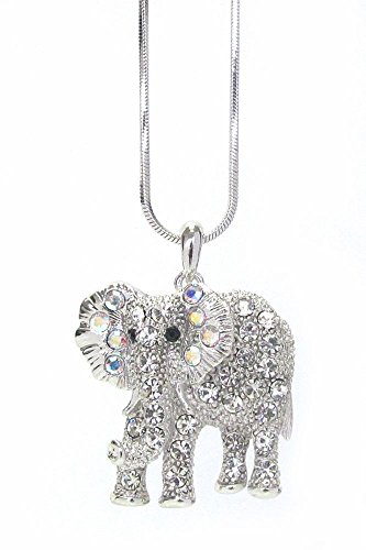 Lola Bella Gifts Crystal Elephant Pendant Necklace with Gift Box