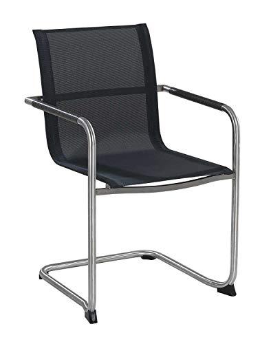 Essstuhl Stapelstuhl Gartenstuhl | Grau | Edelstahl | Textil | Stapelbar - Edelstahl-stapelstühle