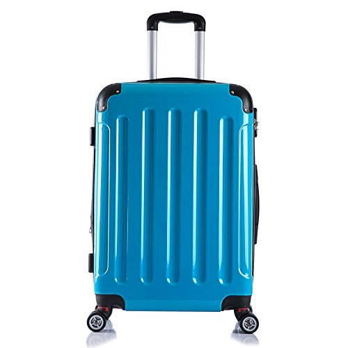 EUGAD Reisekoffer Hartschalenkoffer Zwillingsrollen Reise Koffer Trolley Hartschale 4 Rollen mit erweiterbaren Volumen groß M / L / XL / Set leicht & günstig Türkis (L 67 cm & 70 Liter) , RK4212ts-L