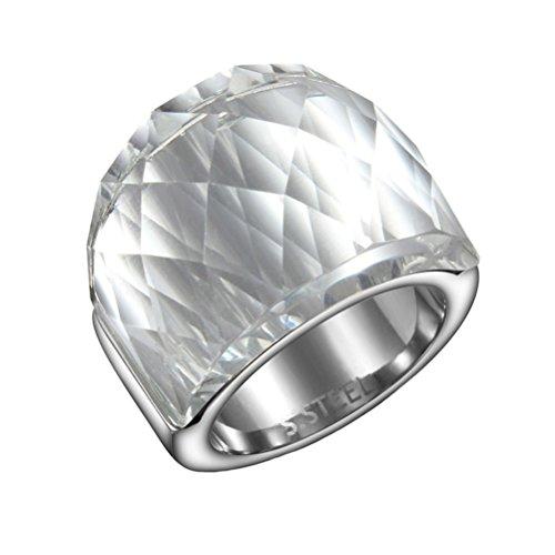 HIJONES Unisex Edelstahl Diamant Schnitt Kristall Glas Hochzeit Band Cocktail Ring Weiß Größe 54 (Biker Weiblich Kostüm)