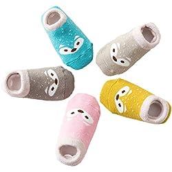 Estwell 5 Pares Calcetines Antideslizantes para Bebé Niños Infantil Niños Niñas Algodón Calentar Lindo Zorro Calcetines