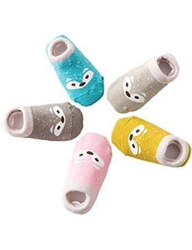 5 Paar Anti Rutsch Babysocken Kindersocken Erstlingssöckchen Kleinkind Rutschfest Baumwolle Socken mit Niedlich...