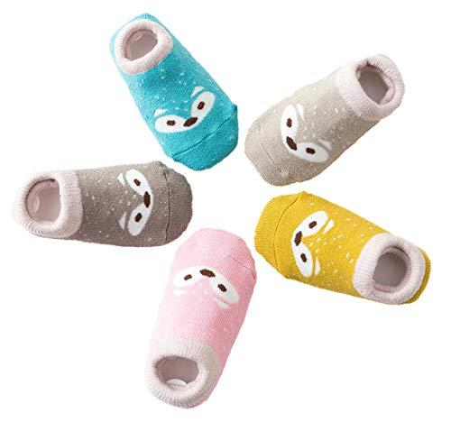 5 Paar Anti Rutsch Babysocken Kindersocken Erstlingssöckchen Kleinkind Rutschfest Baumwolle Socken mit Niedlich Fuchs Muster, Mehrfarbig, L(3-5 Jahre)