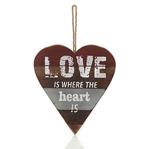 22,4x 19,3cm Vintage Stil Herz Form Holz Schild Fun Schild zum Aufhängen Welcome, Home is where the heart is (Ferien-platten Kleine)