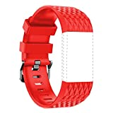 For Fitbit Charge 2 Latest Style Sports Silicon Rubber Wrist Strap Bangle WristBand With Metal Watch Clasp -3D Diamond Red -Large