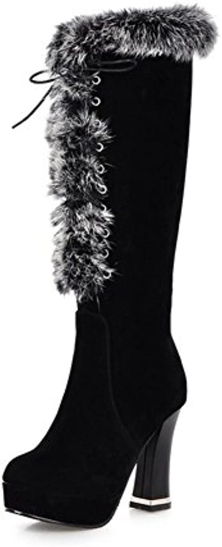 XIAOGANG H HInvierno mujer helada botas de nieve gruesa correa delantera (negro.) Marrón alto talón antideslizante...