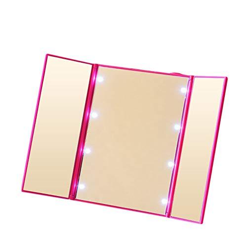 Domeilleur Espejo de Maquillaje portátil Plegable con 3 Luces LED y 3 Espejos...