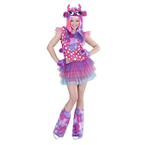 Kostüm Girl Monster - Widmann 01711 - Erwachsenenkostüm Monster Girl, Kleid, Mütze, Handschuhe und Stulpen, Größe S