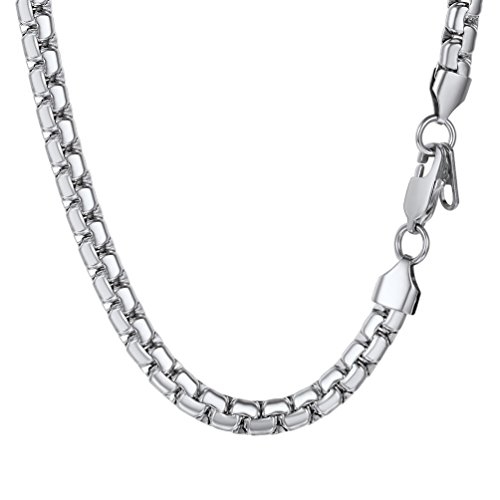 PROSTEEL Halskette Hochwertig Edelstahl Venezianierkette Box Kette 6MM Breite Herren Kette mit Karabinerverschluss, 61CM lang, Silber