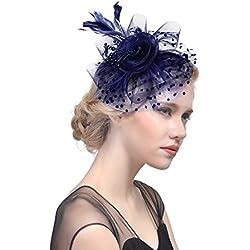 Tocado de plumas para mujer con diseño de lunares con cuentas de hilo, elegante y rizado para el pelo, para boda, cóctel, fiesta, Derby, para el pelo, para el pelo azul marino talla única