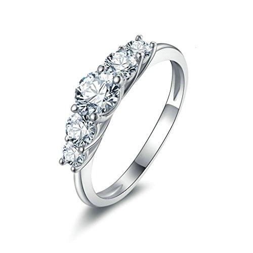 Daesar Silberring Damen Ring Silber Ehering für Damen Verlobungsring Benutzerdefinierte Ring Runde Strass Ring Größe:65 (Benutzerdefinierte Halo Kostüme)