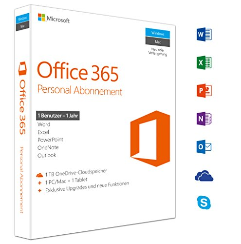 Microsoft Office 365 Personal multilingual | 1 Gerät | 1 Jahresabonnement | PC/Mac | Download (Office 365-microsoft Personal)