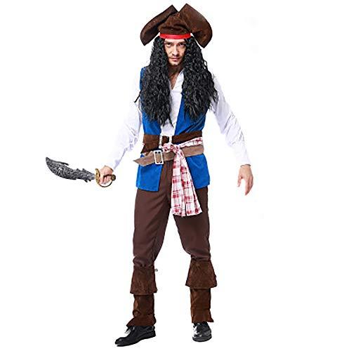 BFYH Herren Piraten Kapitän Kostüm, Halloween/Maskerade / Rollenspiel, Polyester + Fleece-Stoff,XL