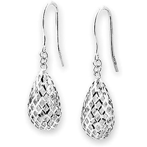 Taglio a diamante, in oro bianco 14 kt a forma di pera, in filigrana soffiata-Orecchini pendenti a goccia, con gancio, motivo: regali di Natale da donna