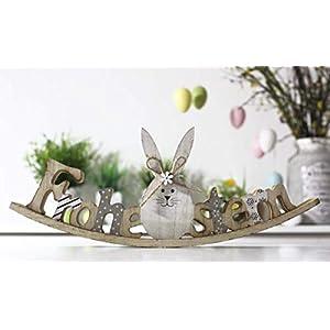 LB H&F Dekorativer Schriftzug Ostern mit Hase zum hinstellen Natur Holz grau 30cm Gross IK