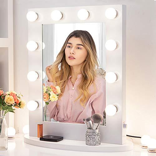 Chende Weiß Hollywood Spiegel mit Beleuchtung für Wandmontage, Gross Schminkspiegel mit Licht für Schlafzimmer, Tabletop Professioneller Beleuchteter Kosmetikspiegel mit 12 Glühbirnen (65cm X 50cm)