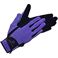 Riders Trend Women's Every Day Horse 2-tone 4way/ Kr-nubuck Suede Equestrian Riding Gloves