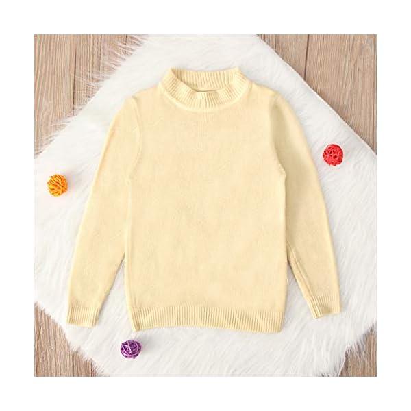 MEIbax Moda Casual Color sólido Baby Girl Suéter de Punto de Cuello bajo Niños Top de Manga Larga Suéter de Punto Niñas… 3