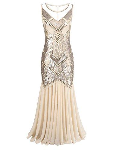 Kayamiya Damen 1920er Jahre Perlen Pailletten Maxi Lange Gatsby Flapper Abendkleid S Champagne (Great Gatsby Kleid)