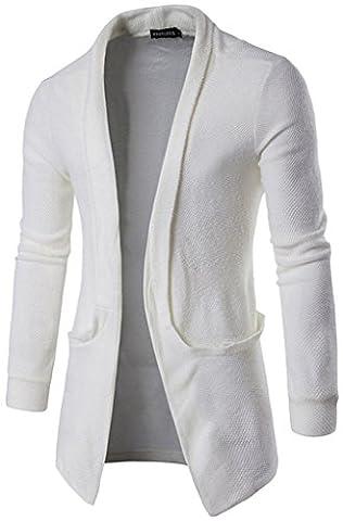Whatlees Unisex Hip Hop Urban Basic Basic Cardigan cardigan with contrasting inset B338-White-L