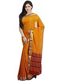 Sree Chandrakalaa Silk Kendra Crepe Silk Saree (1255_Mustard)