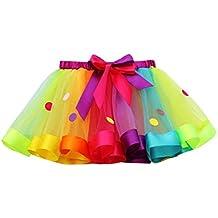 LuckyGirls Bebé Niñas Verano Vestidos Fiesta Partido Color del Arco Iris Lunares Tul Tutú Princesa Faldas