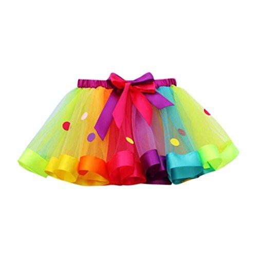 LuckyGirls Bebé Niñas Verano Vestidos Fiesta Partido Color del Arco Iris Lunares Tul Tutú Princesa Faldas (4~10 Años) (M-7 Años, Multicolor)