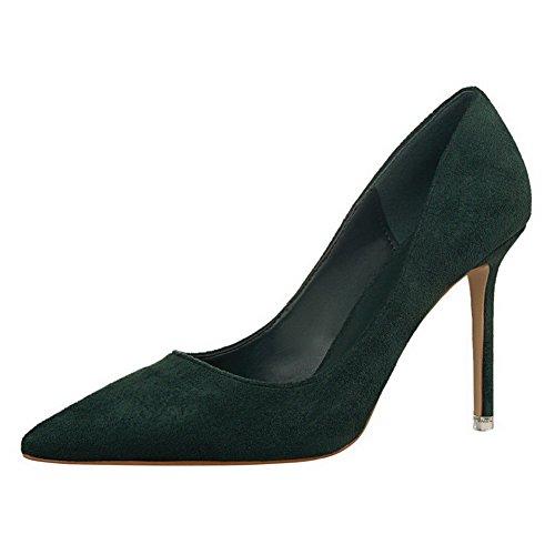 AalarDom Femme à Talon Haut Pointu Tire Chaussures Légeres Vert-9CM