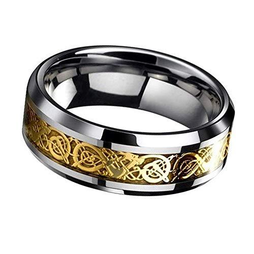 Trifycore Los hombres del anillo del dragón escala del dragón anillos de titanio anillos de la joyería de acero patrón bordes biselados Partido Vida Diaria 8
