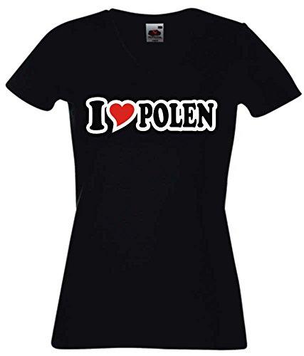 T-Shirt I Love Heart Damen V-Ausschnitt I LOVE POLEN Schwarz